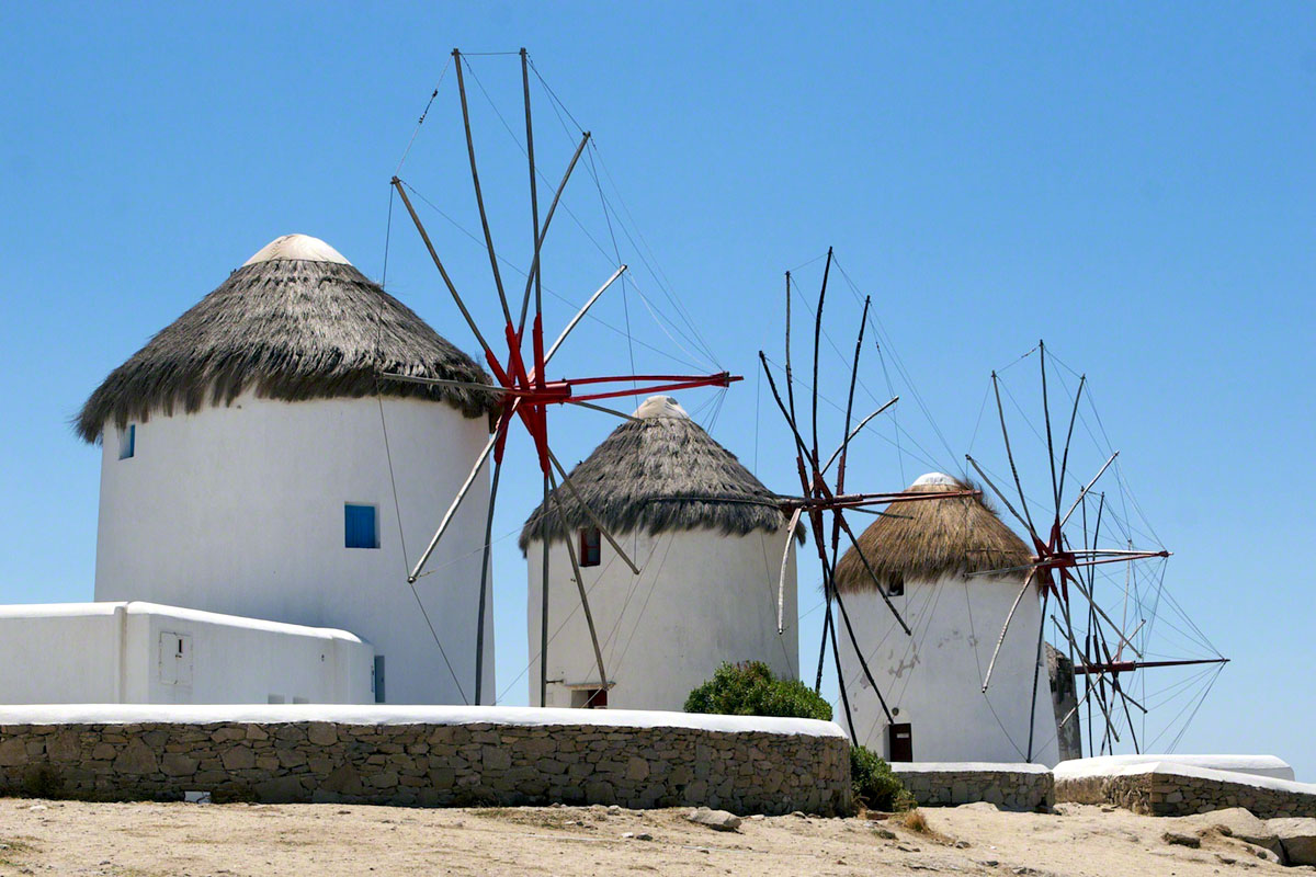 The famous windmills of Mykonos